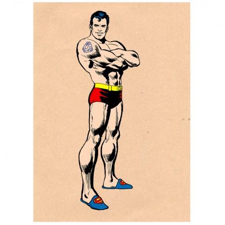 Affiche Superman à la maison / Superman at home